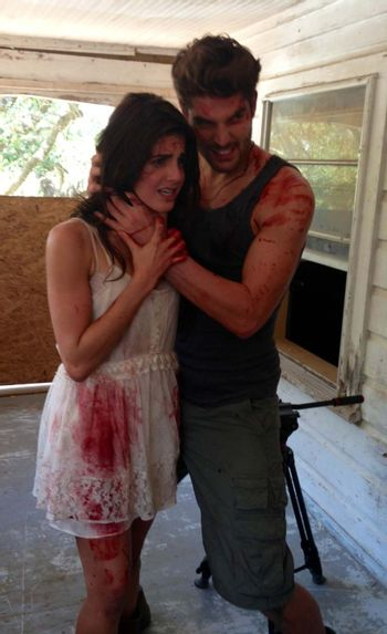 """Electra Avellan, Nick Bateman on the set of """"Hidden In The Woods,"""" Private Location, Richmond, TX 10-05-13 DailyCeleb.com 818-249-4998/ImageCollect"""