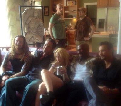 "Andy MacKenzie, Chris Browning, Loris Curci, Jennifer Blanc, Patricio Valladares, Ricco Ross on the set of ""Hidden In The Woods,"" Private Location, Richmond, TX 10-05-13 DailyCeleb.com 818-249-4998/ImageCollect"