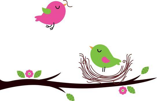 Beautiful cartoon Birds building Nest. Vector Illustration