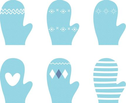 Beautiful Gloves with retro patterns. Vector Illustration
