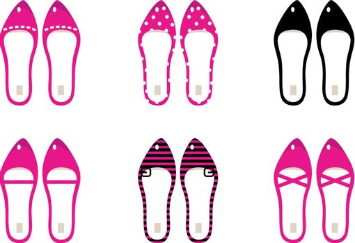Female retro shoes collection. Vector Illustration