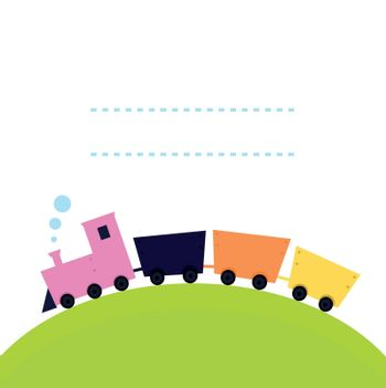 Cartoon Train on hill with blank space. Vector banner