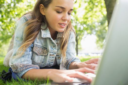 Young happy student lying on the grass using laptop