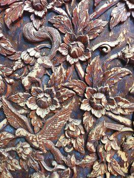 closed up thai carve on a wood, thai art