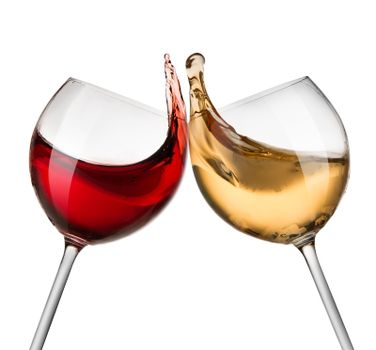 Red and white wine waves
