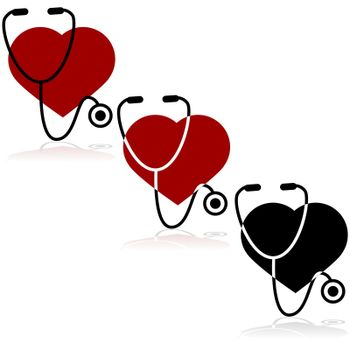 Icon set showing a heart and a stethoscope