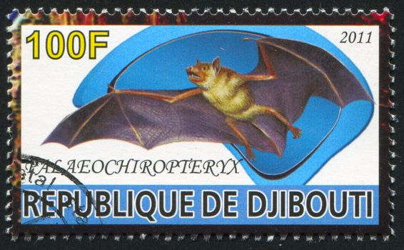 DJIBOUTI - CIRCA 2011: stamp printed by Djibouti, shows prehistoric Animals, circa 2011