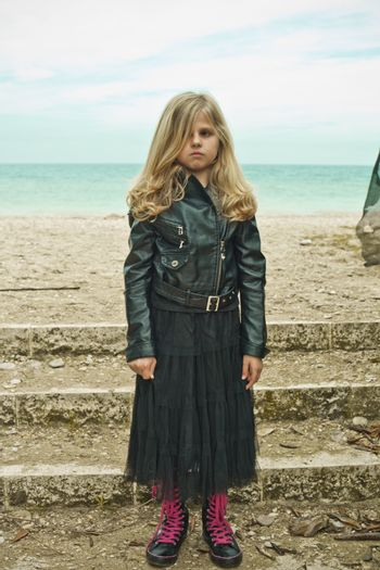 unhappy young girl in black