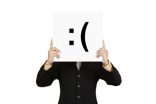 Businessman hold board with sad face emoticon