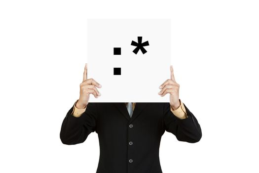 Businessman hold board with kiss face emoticon