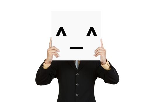 Businessman hold board with smile face emoticon