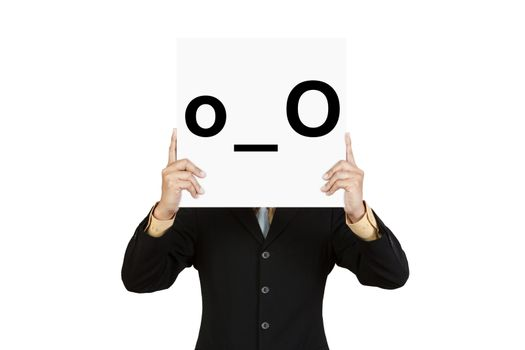 Businessman hold board with confuse face emoticon