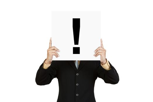 Businessman show exclamation mark on paper board