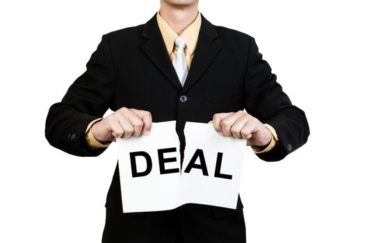 Businessman tear paper with word Deal