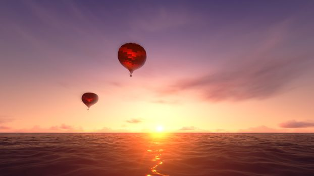 Balloon floating over the ocean