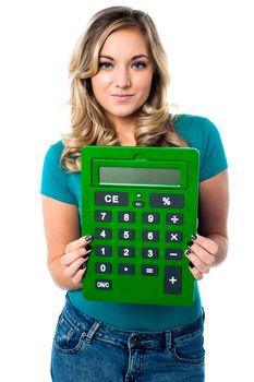 Female model with calculator