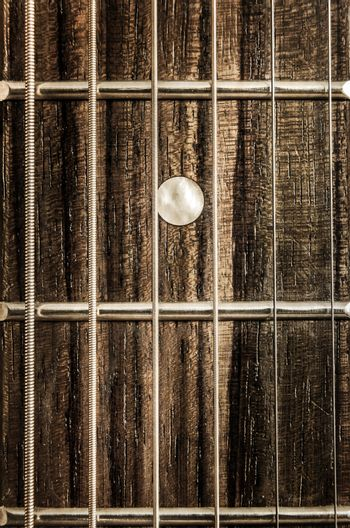 Detail close-up view of guitar strings and frets
