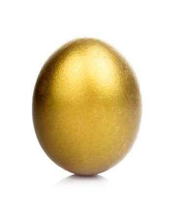 One golden egg isolated on white background