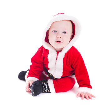 Little Santa boy isolated on white background