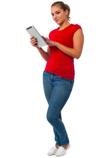 Young female using tablet pc
