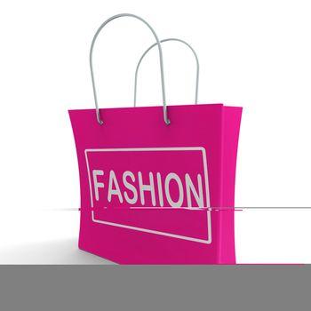 Fashion Shopping Bag Showing Fashionable Trendy And Stylish
