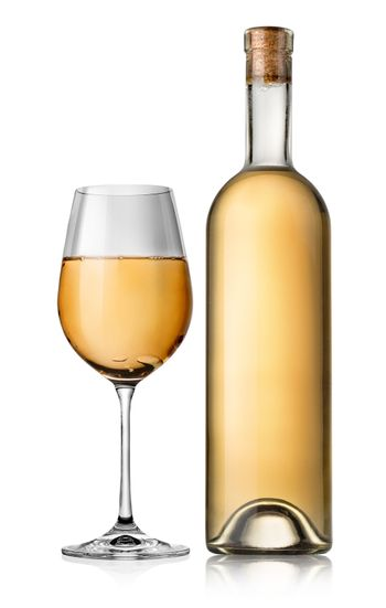 Bottle and white glass wine