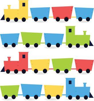 Cute colorful vehicles set. Vector cartoon Illustration