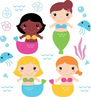 Cute colorful Mermaids with little sea creatures. Vector