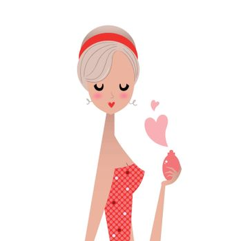 Fashion girl with perfume for Valentine's day. Vector