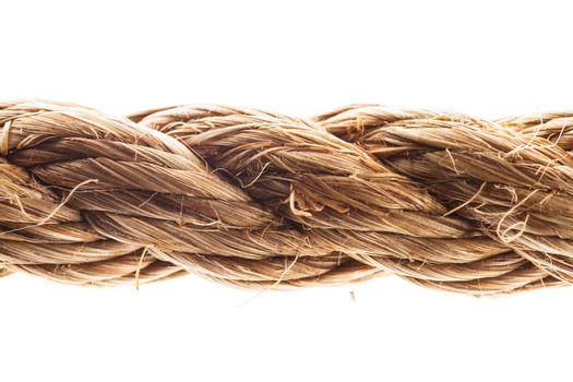 Close up view of rope isolated on white