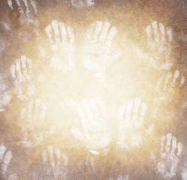 Human handprint background
