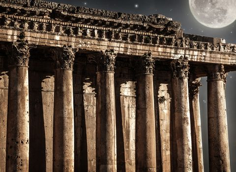 Baalbeck castle in the night