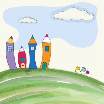 funny pencil houses