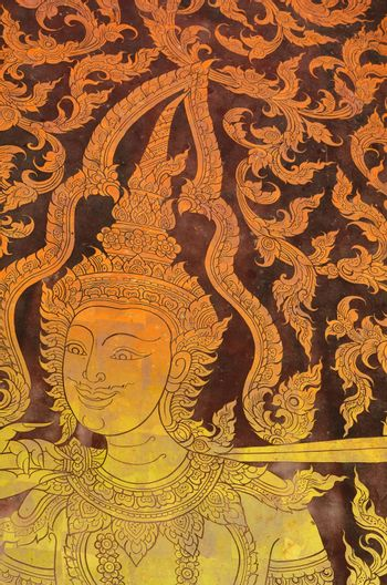 The painting of Thai-style mural on the old wood board