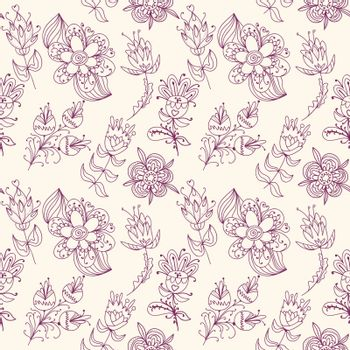 Seamless texture with contour flowers