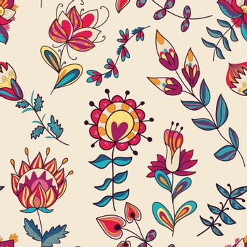 Seamless texture with flowers. Endless floral pattern. Can be used for wallpaper, pattern, backdrop, surface textures. Full color seamless floral background