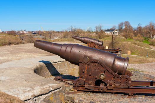 Guns at Suomenlinna maritime fortress. Helsinki, Finland