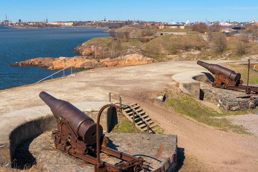 Large guns at Suomenlinna maritime fortress. Helsinki, Finland