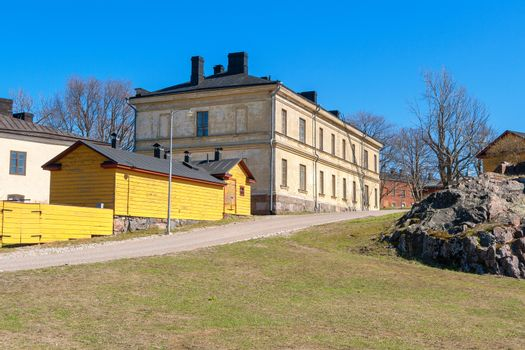Residential houses at Suomenlinna maritime fortress. Helsinki, Finland