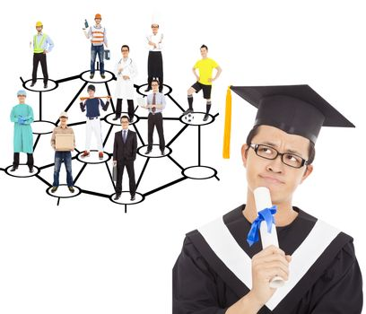 graduate thinking about his career planning