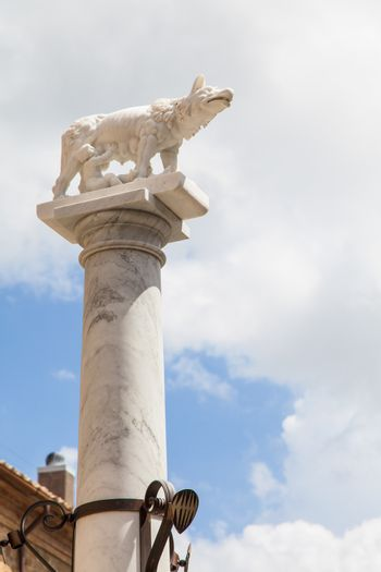 Tuscany, Italy. Statue of the legendary wolf with Romolo and Remo, founders of Rome