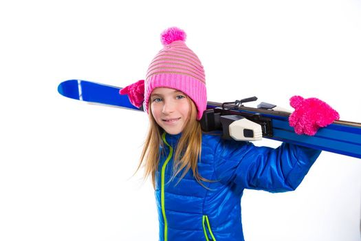 Blond kid girl winter snow holding ski equipment with pink wool hat