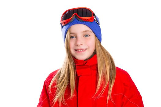 Blond kid girl winter portrait with ski snow goggles and wool hat