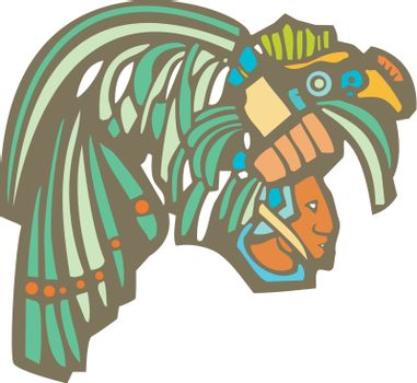 Traditional Mayan Mural image of profile of a Mayan Warrior.