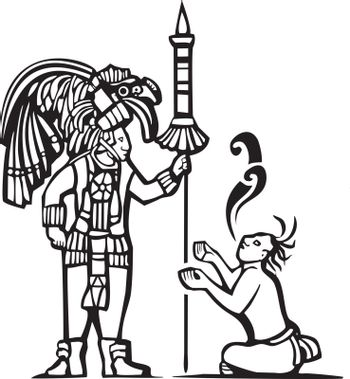 Traditional Black and White Mayan Mural image of a Mayan Warrior and a captive with speech scrolls.