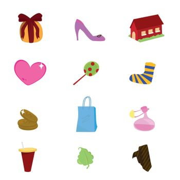 a set of different objects as icons and others