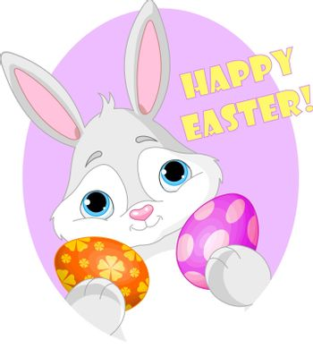 Bunny with Easter Egg and Sign