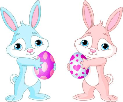 Two Cute Easter Bunnies