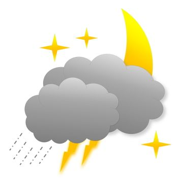 Stormy night as weather icon