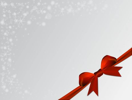 Silver Christmas background with red bow